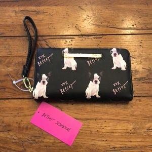 Betsey Johnson French Bulldog wallet wristlet